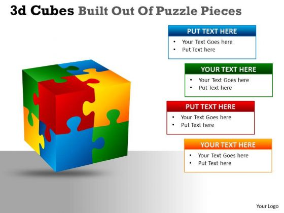 Mba Models And Frameworks 3d Cubes Built Out Of Puzzle Pieces Sales Diagram