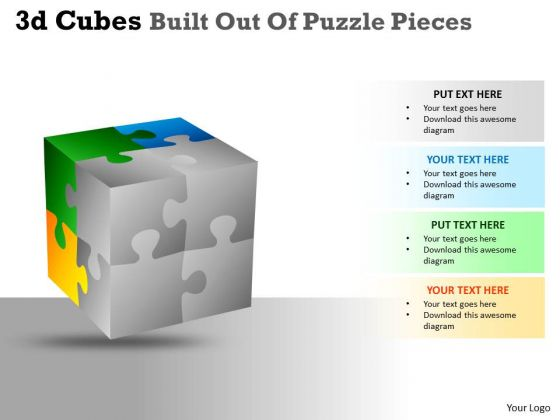 Mba Models And Frameworks 3d Cubes Built Out Of Puzzle Pieces Strategic Management