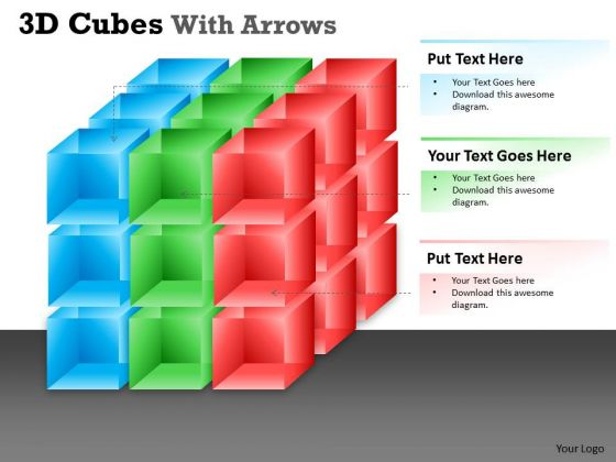 Mba Models And Frameworks 3d Cubes With Arrows Business Diagram
