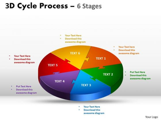 Mba Models And Frameworks 3d Cycle Process Colorful Diagram Flow Chart 6 Stages Sales Diagram