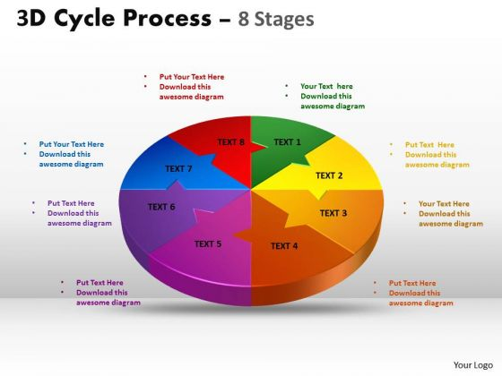 Mba Models And Frameworks 3d Cycle Process Flow Chart 8 Stages Style Business Diagram