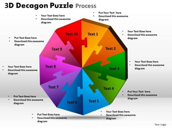 Mba Models And Frameworks 3d Decagon Puzzle Process Strategy Diagram