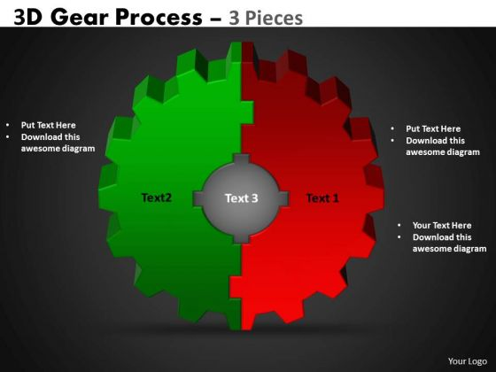 Mba Models And Frameworks 3d Gear Process 3 Pieces Strategy Diagram