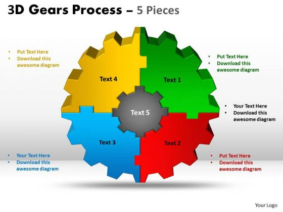 Mba Models And Frameworks 3d Gear Process 5 Pieces Business Diagram