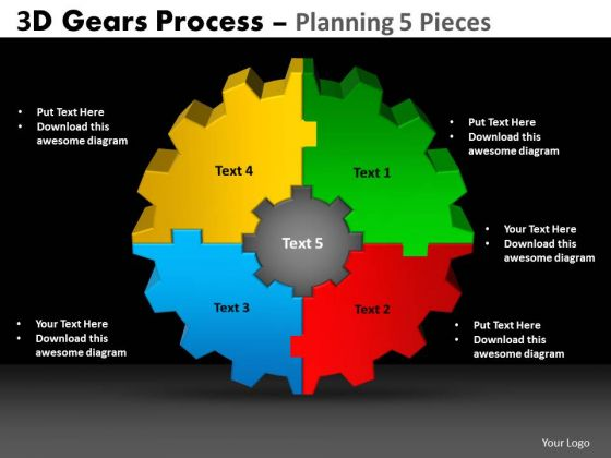 Mba Models And Frameworks 3d Gears Process Planning 5 Pieces Sales Diagram