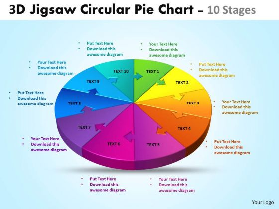 Mba Models And Frameworks 3d Jigsaw Circular Chart 10 Stages Business Diagram