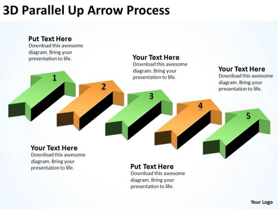 Mba Models And Frameworks 3d Parallel Up Arrow Process Consulting Diagram