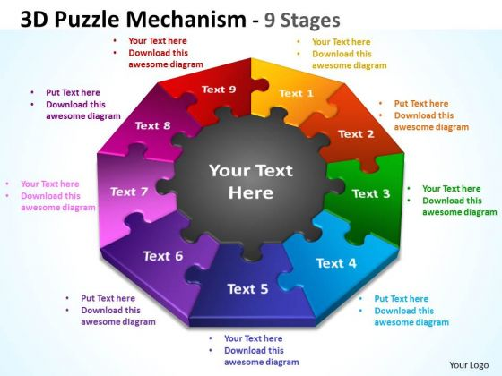 Mba Models And Frameworks 3d Puzzle Diagram Mechanism 9 Stages Marketing Diagram
