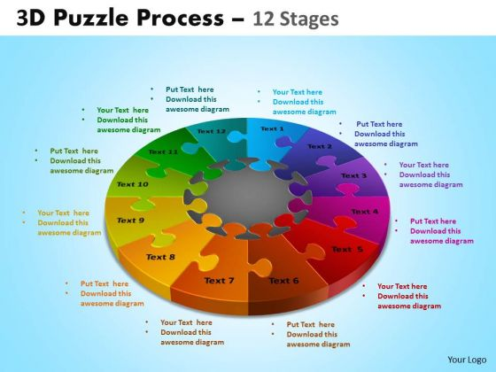 Mba Models And Frameworks 3d Puzzle Process Diagram 12 Stages Business Diagram