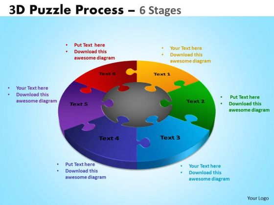 Mba Models And Frameworks 3d Puzzle Process Diagram 6 Stages Strategic Management