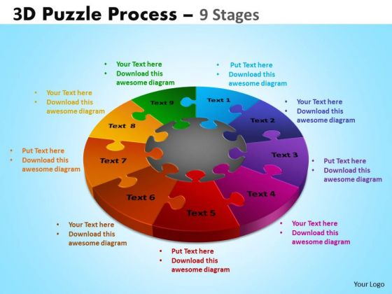 Mba Models And Frameworks 3d Puzzle Process Diagram 9 Stages Business Diagram