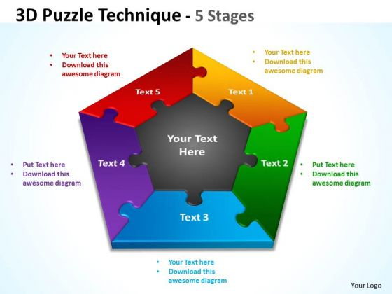 Mba Models And Frameworks 3d Puzzle Technique 5 Diagram Stages Strategy Diagram