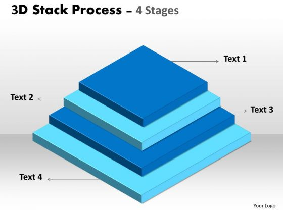 Mba Models And Frameworks 3d Stack Process With 4 Stages Business Diagram