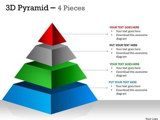Mba Models And Frameworks 4 Staged 3d Pyramid For Process Flow Business Diagram
