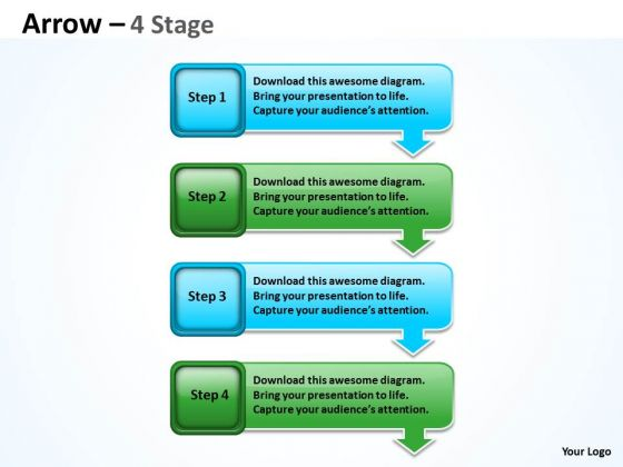 Mba Models And Frameworks Arrow 4 Stages Diagram Sales Diagram