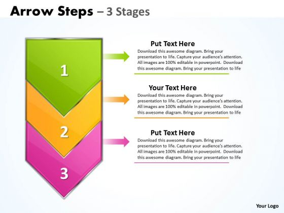 Mba Models And Frameworks Arrow Colorful 3 Stages Marketing Diagram