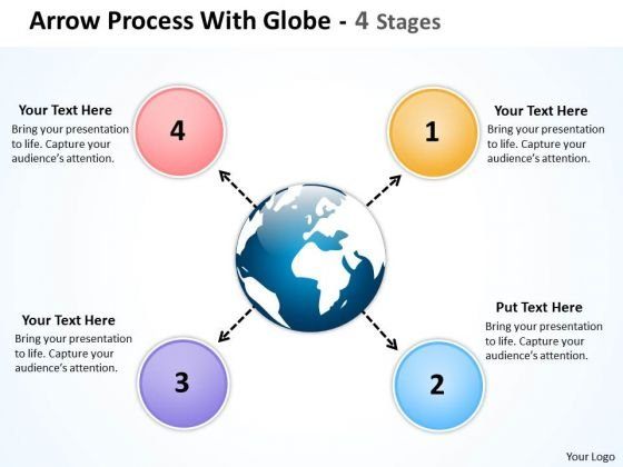 Mba Models And Frameworks Arrow Process With Globe 4 Stages Consulting Diagram