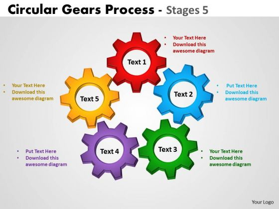 Mba Models And Frameworks Circular Gears Process Stages Business Diagram