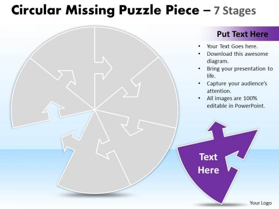 Mba Models And Frameworks Circular Missing Puzzle Piece 7 Stages Business Diagram