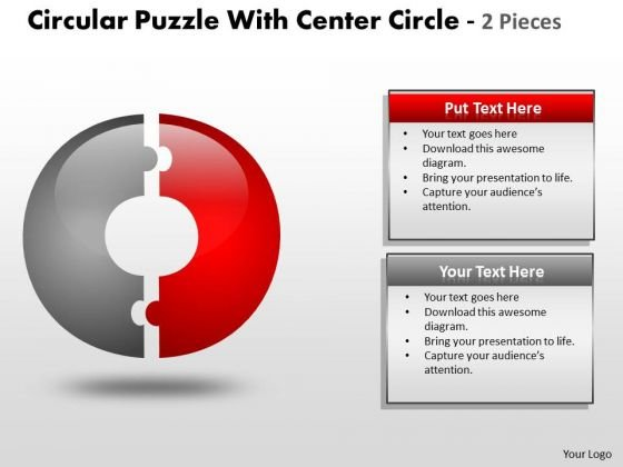 Mba Models And Frameworks Circular Puzzle With Center Circle 2 Business Diagram