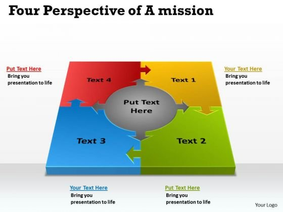 Mba Models And Frameworks Four Perspective Of A Templates Mission Marketing Diagram