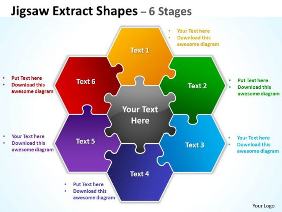 Mba Models And Frameworks Jigsaw Extract Diagram Shapes 6 Stages Business Diagram