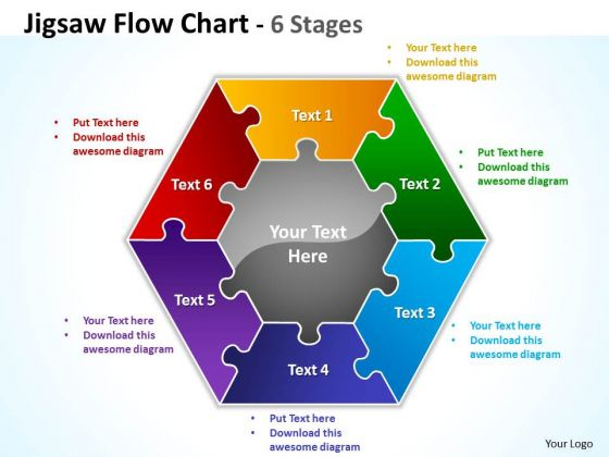 Mba Models And Frameworks Jigsaw Flowchart 6 Diagram Stages Business Diagram