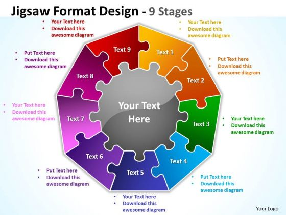 Mba Models And Frameworks Jigsaw Format Diagram Design 9 Stages Business Diagram