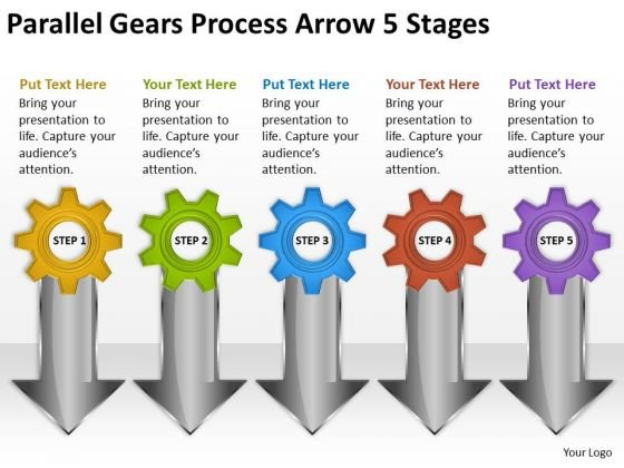 Mba Models And Frameworks Parallel Gears Process Arrow 5 Stages Marketing Diagram