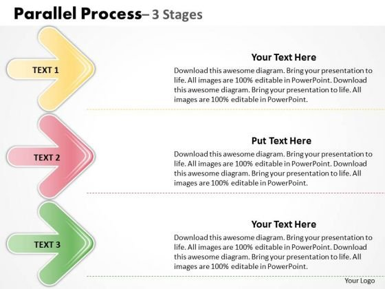 Mba Models And Frameworks Parallel Process 3 Stages Business Cycle Diagram