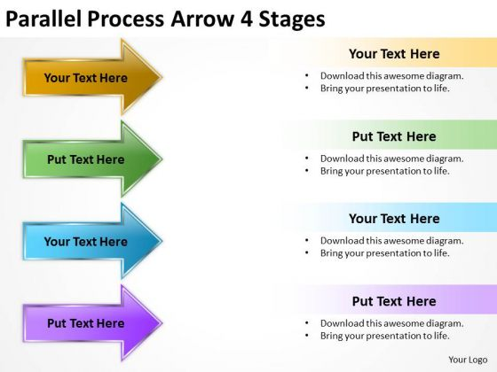 Mba Models And Frameworks Parallel Process Arrow 4 Stages Business Diagram