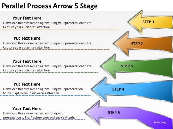 Mba Models And Frameworks Parallel Process Arrow 5 Stage Marketing Diagram