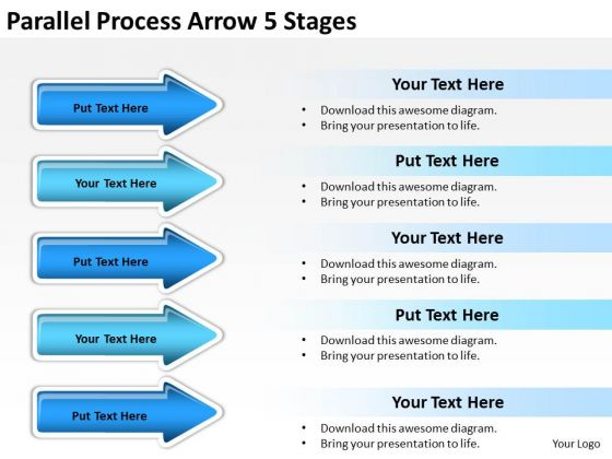 Mba Models And Frameworks Parallel Process Arrow 5 Stages Business Diagram