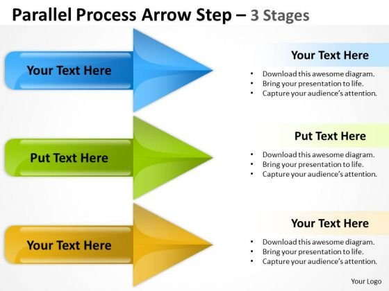 Mba Models And Frameworks Parallel Process Arrow Step 3 Stages Strategy Diagram