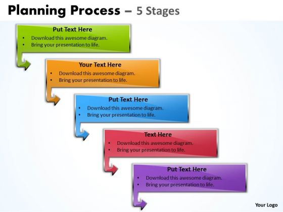 Mba Models And Frameworks Planning Process Diagram With 5 Stages Business Diagram