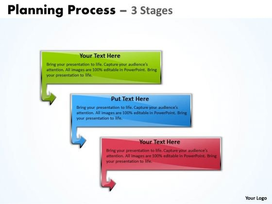 Mba Models And Frameworks Planning Process With 3 Stages Business Diagram