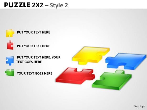 Mba Models And Frameworks Puzzle 2x2 Style 2 Business Diagram
