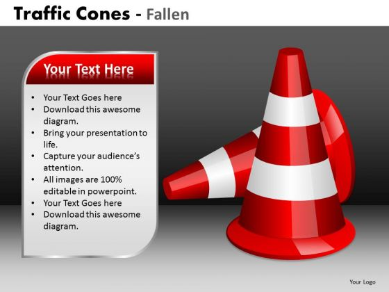 Mba Models And Frameworks Traffic Cones Fallen Business Diagram