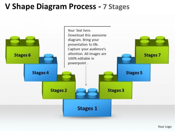 Mba Models And Frameworks V Shape Diagram Process 7 Stages Business Diagram