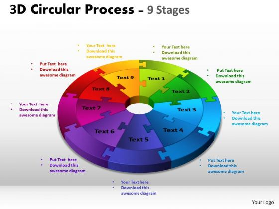 Sales Business 3d Circular Process Cycle Diagram Chart 9 Stages Business Diagram