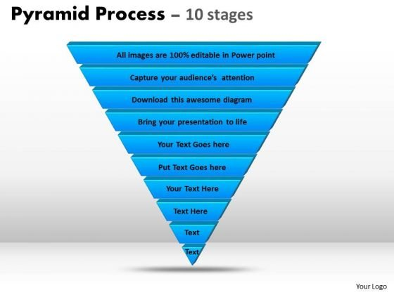 Sales Diagram 10 Staged Reverse Triangle Process Flow Business Cycle Diagram