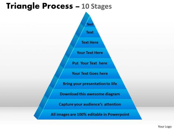 Sales Diagram 10 Staged Triangle Process Flow Consulting Diagram