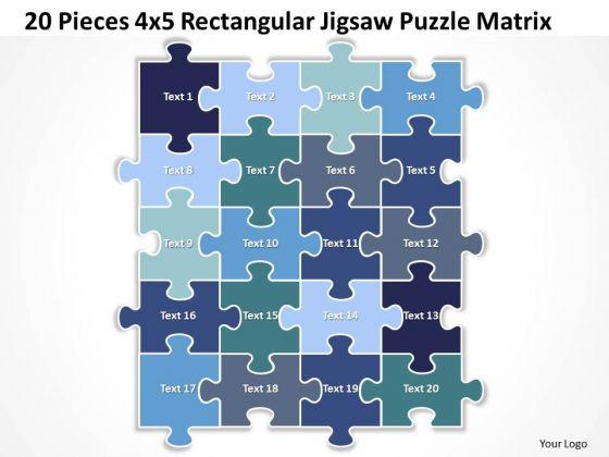 Sales Diagram 20 Pieces 4x5 Rectangular Jigsaw Puzzle Matrix Consulting Diagram