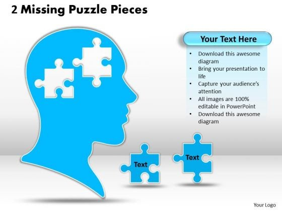 Sales Diagram 2 Missing Puzzle Pieces Business Finance Strategy Development