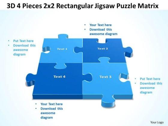 Sales Diagram 3d 4 Pieces 2x2 Rectangular Jigsaw Puzzle Matrix Consulting Diagram