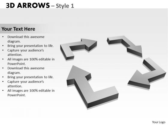 Sales Diagram 3d Arrows Style 1 Marketing Diagram