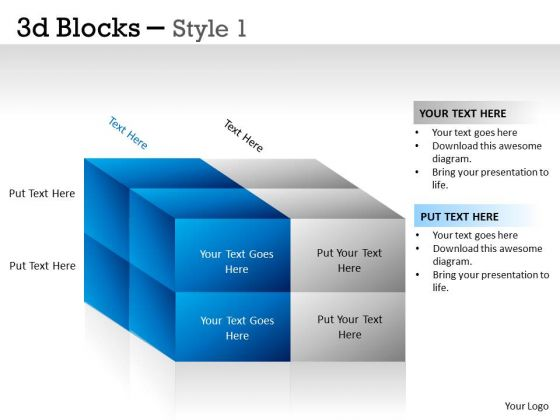 Sales Diagram 3d Blocks Style 1 Ppt Marketing Diagram