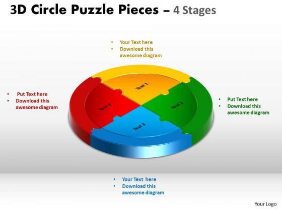 Sales Diagram 3d Circle Puzzle Diagram 4 Stages Slide Circular Strategy Diagram