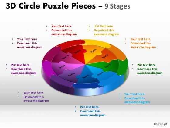 Sales Diagram 3d Circle Puzzle Diagram 9 Stages Mba Models And Frameworks