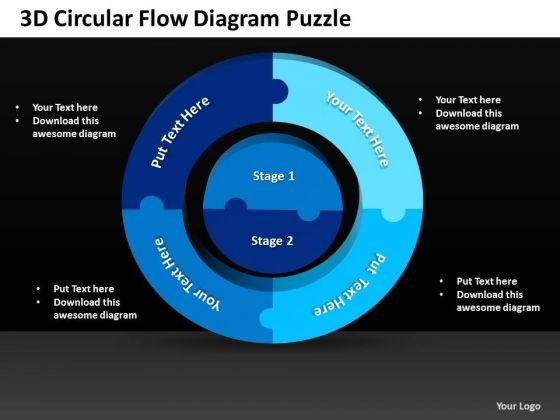 Sales Diagram 3d Circular Flow Diagram Puzzle 3 Business Diagram